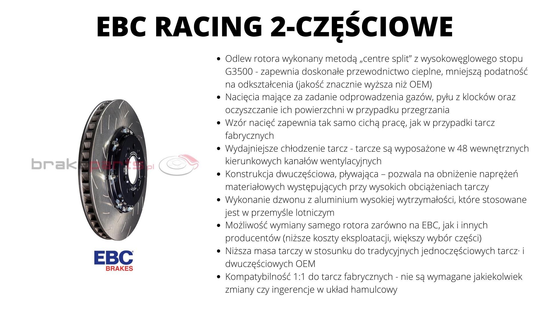 tarcze hamulcowe EBC racing dwuczęściowe pływające BMW M2 M3 M4
